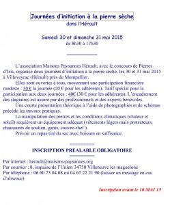 Pierre sèche 2015 - Information, consignes